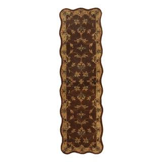Herat Oriental Indo Hand-Tufted Mahal Brown/ Beige Wool Rug (2'x 7')