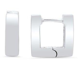 Sterling Silver Mini Square Hinged Hoop Earrings