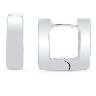 Sterling Silver Mini Square Hinged Hoop Earrings