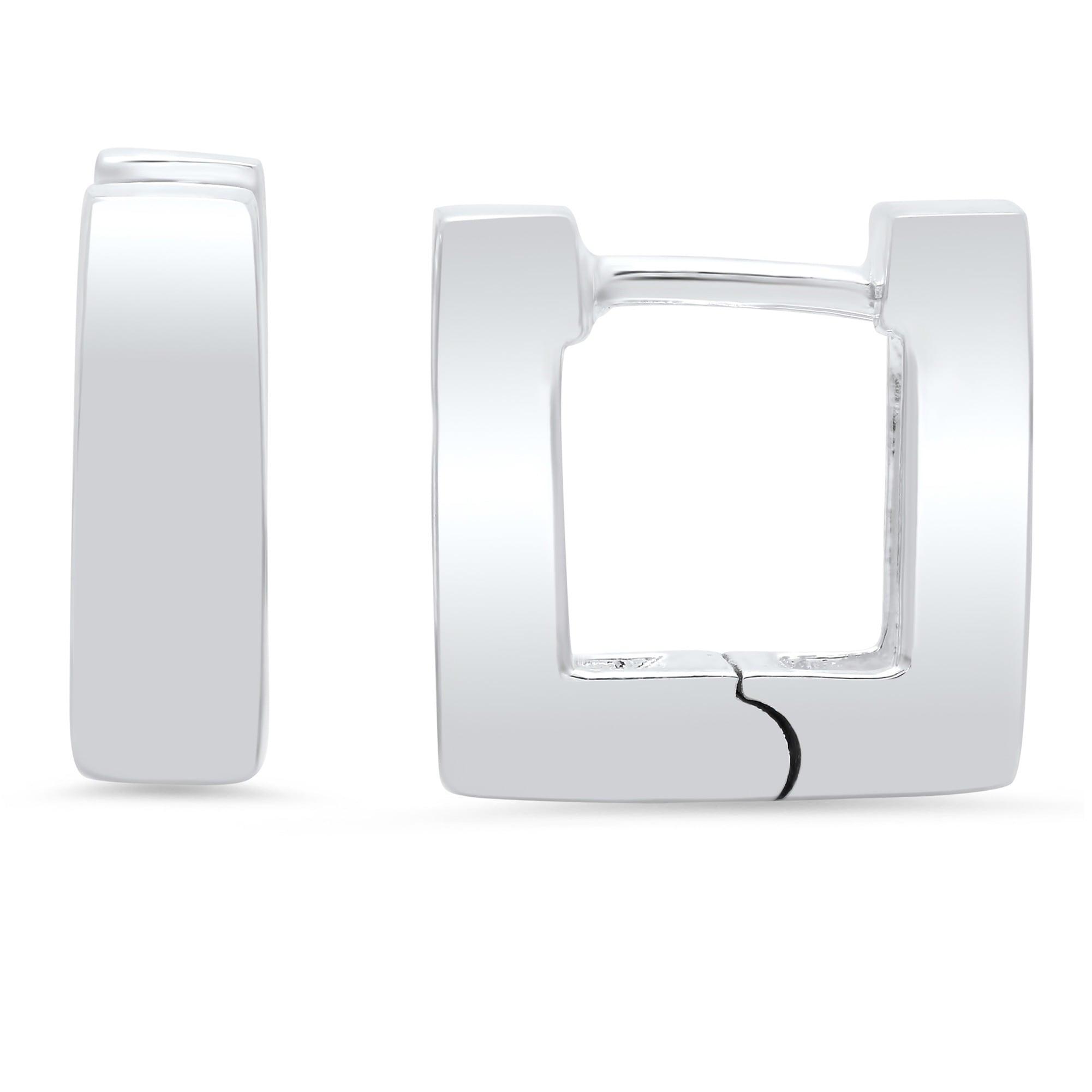 91140c68d Shop Sterling Silver Mini Square Hinged Hoop Earrings - On Sale ...