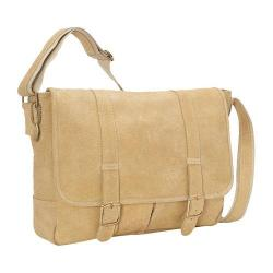 David King Leather Tan Double Strap Flapover Messenger