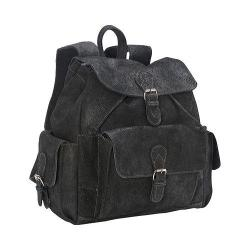 David King Leather Black Distressed Leather Flapover Backpack w/ Flapper Pockets