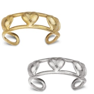 14K Yellow or White Gold Adjustable Triple Heart Toe Ring