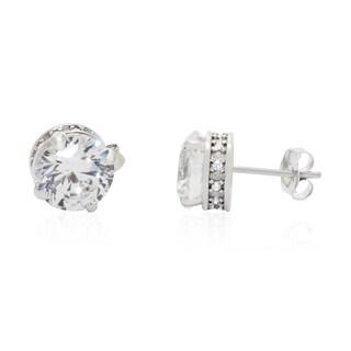 Gioelli 10k White Gold Round Cubic Zirconia Earrings