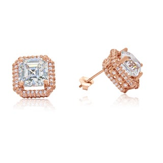 Gioelli 10k Rose Gold Cubic Zirconia Squared Stud Earrings