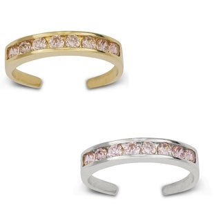 14k Gold Channel-set Round Pink Cubic Zirconia Adjustable Toe Ring
