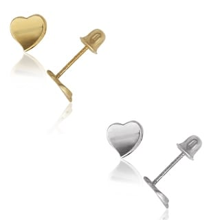 14k Yellow or White Concave Small Modern Heart Screw-back Earrings