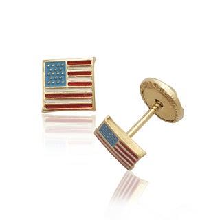 14k Yellow Gold Enamel American Flag Screw-back Earrings