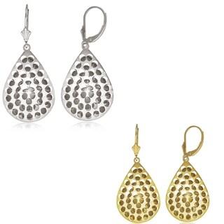 Sterling Silver Bold Pear-shape Diamond-Cut Disc Leverback Earrings