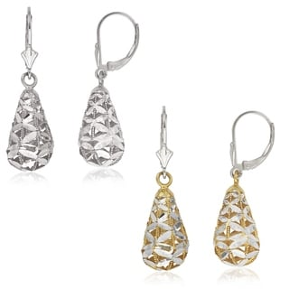 Sterling Silver Bold Pear-shape Dimensional Bird-cage Leverback Earrings