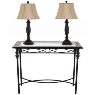 Dark Bronze Console Table With Lamp Set