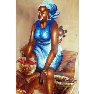 Handmade KUMASI MARKET WOMAN Canvas Art (Ghana)