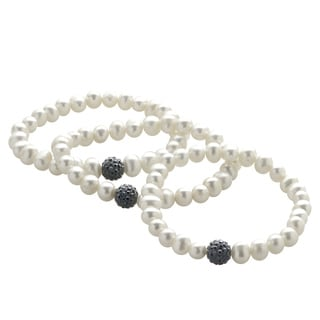 Pearls For You White Freshwater Pearl and Black Crystal Bead 3-piece 7-inch Stretch Bracelet Set (6-7 mm)