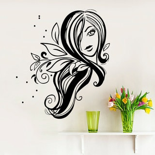 Floral Woman Face Stylish Girly Bedroom Purple Vinyl Sticker Wall Art