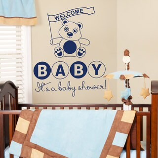 Baby Shower Decor Teddy Bear Dark Blue Vinyl Sticker Wall Art