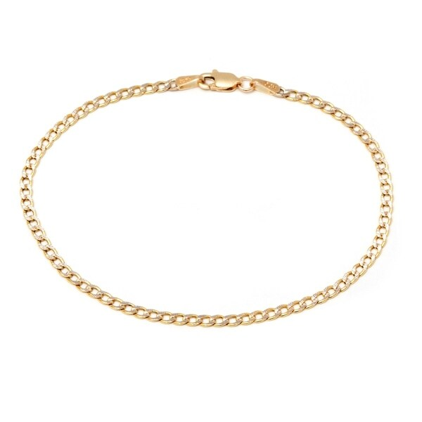 8d65b2499 Shop Pori 10k Two-tone Gold Cuban Diamond-cut Chain Bracelet - Free ...