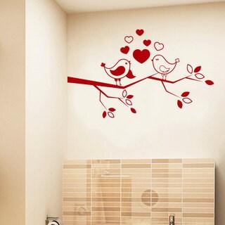 Birds Love On Tree Branch Red Vinyl Sticker Wall Art