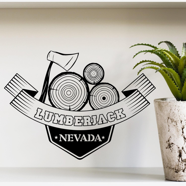 Lumberjack Nevada Axe Vinyl Sticker Wall Art (22 inches x...