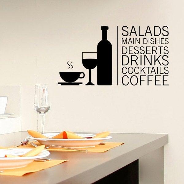 Shop Tea Wine Coffee Kitchen Decor Vinyl Sticker Wall Art Free