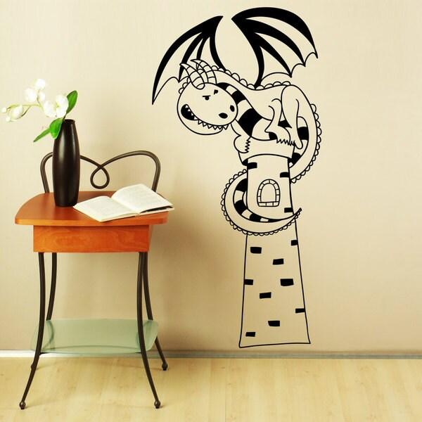 Cute Dragon On Light House Vinyl Sticker Wall Art - Free Shipping On ...
