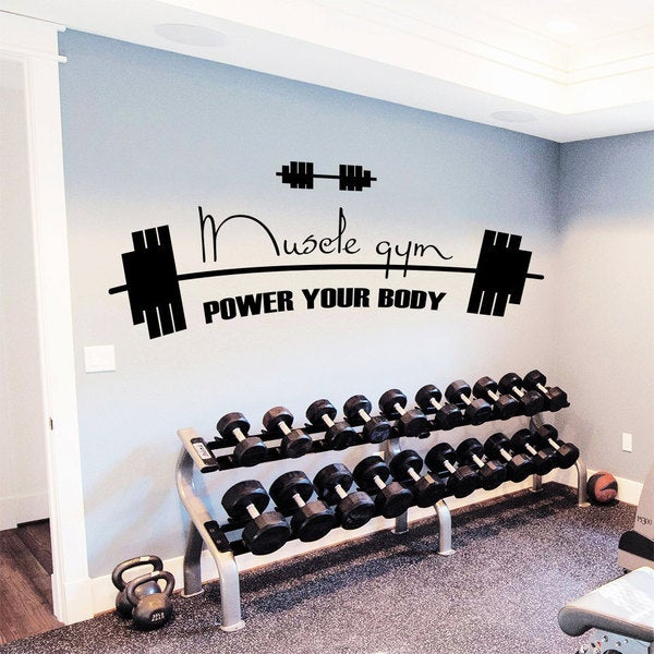 Shop gym decor power your body vinyl sticker wall art