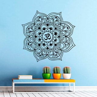 Om sign incide Mandala Black Vinyl Sticker Wall Art