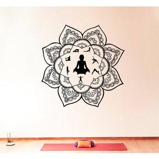 Yoga Decor Black Vinyl Sticker Wall Art