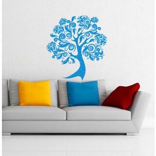 Blue Flowered Pattern Tree Black Vinyl Sticker Wall Art