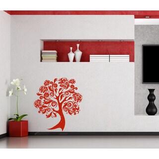 Red Flowered Pattern Tree Black Vinyl Sticker Wall Art