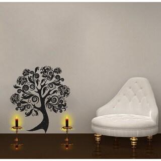 Flowered Pattern Tree Black Vinyl Sticker Wall Art