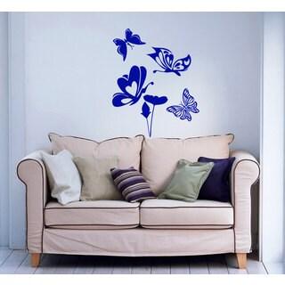 Butterflies and Flowers Vinyl Sticker Wall Art