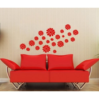 Set of Flowers Red Vinyl Sticker Wall Art