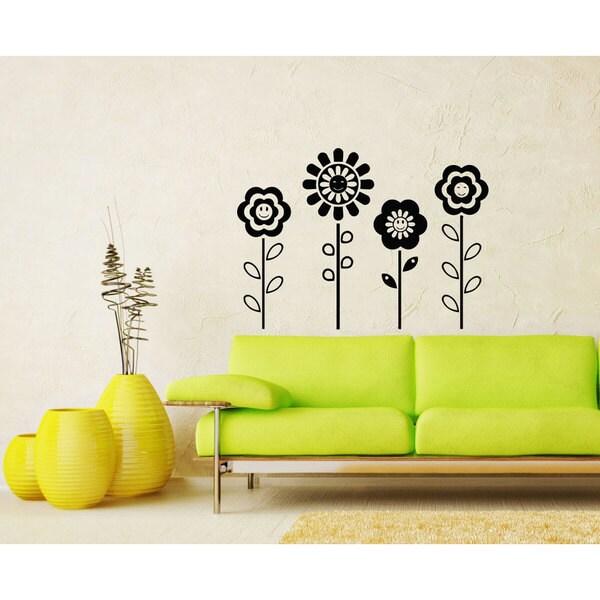 Happy Flowers Black Vinyl Sticker Wall Art - Free Shipping On Orders ...