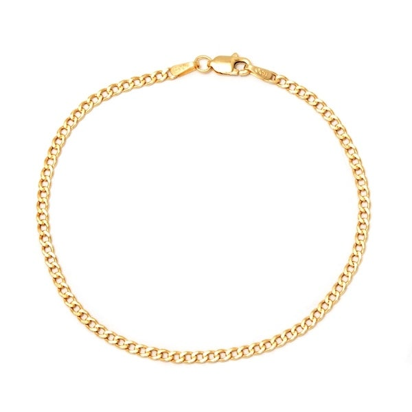 d3db6cfa0 Shop Pori 10k Yellow Gold Cuban Chain Bracelet - Free Shipping Today ...