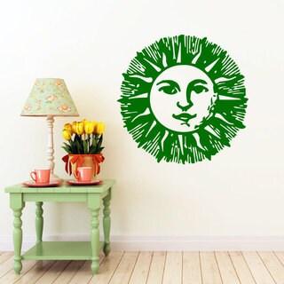 Green Crestcent Sun Vinyl Sticker Wall Art