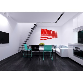 Red US Flag Vinyl Sticker Wall Art