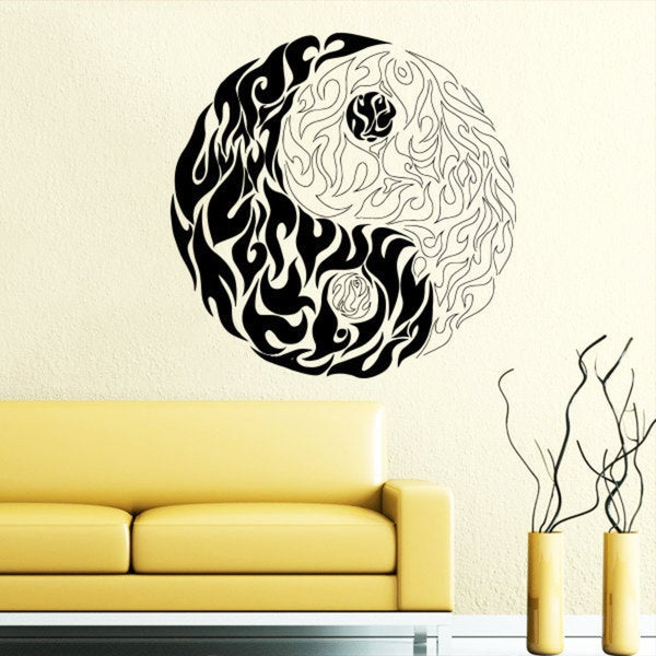 Shop Tribal Fire Yin Yang Black Vinyl Sticker Wall Art - Free ...