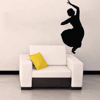 Hindu Indian Girl Dancing Black Vinyl Sticker Wall Art