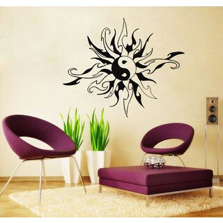 Yin Yang Tribal Sun Black Vinyl Sticker Wall Art