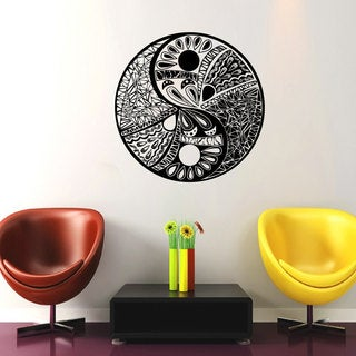 Flowers Yin Yang Black Vinyl Sticker Wall Art