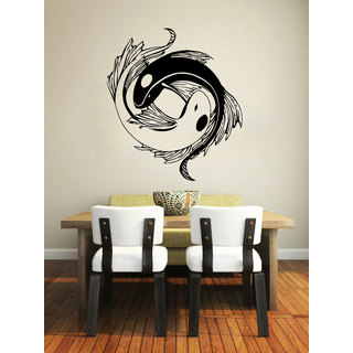 Yin Yang Koi Fish Black Vinyl Sticker Wall Art