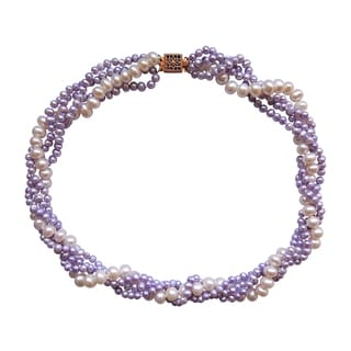 Lavender Jade twisted with Freshwater Pearl