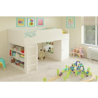 Altra Elements White Loft Bed With Bookcase And Toy Bo