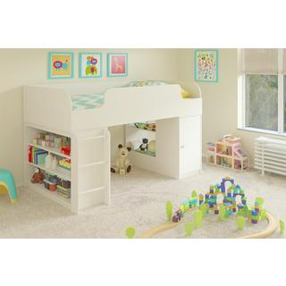 Altra Elements White Loft Bed with Bookcase and Toy Box Bookcase with Door by Cosco