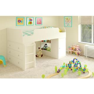 Altra Elements White Loft Bed with Dresser and Toy Box Bookcase by Cosco