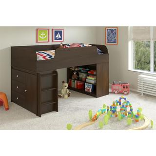 Altra Elements Resort Cherry Loft Bed with Bookcase and Storage Organizer by Cosco