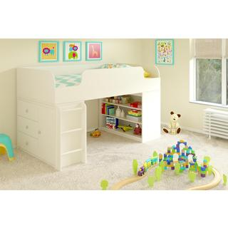 Altra Elements White Loft Bed with Bookcase and Storage Organizer by Cosco