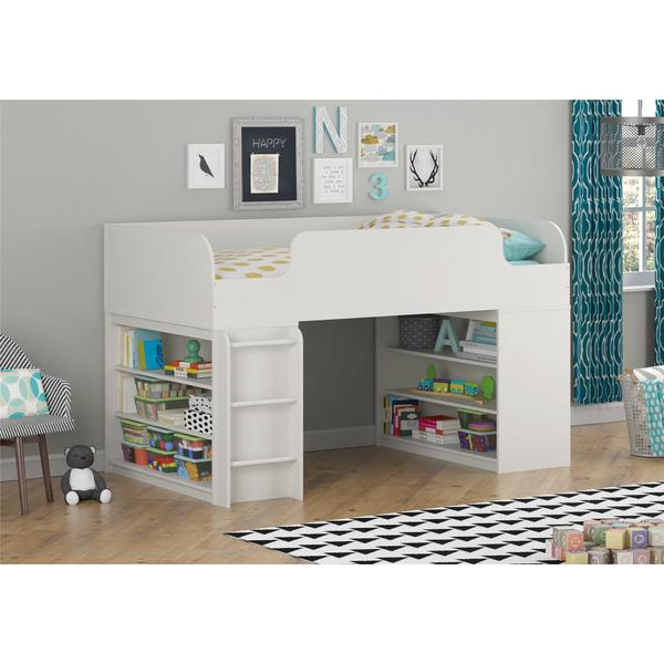 Shop Altra Elements White Loft Bed With Two Bookcases By