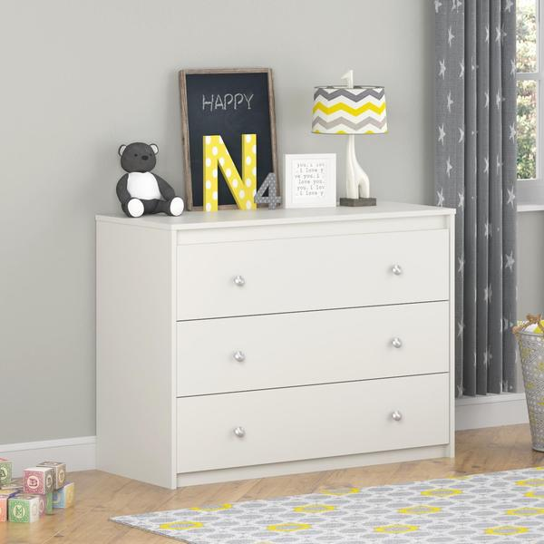 ameriwood home elements white 3 drawer dresser by cosco free shipping today. Black Bedroom Furniture Sets. Home Design Ideas