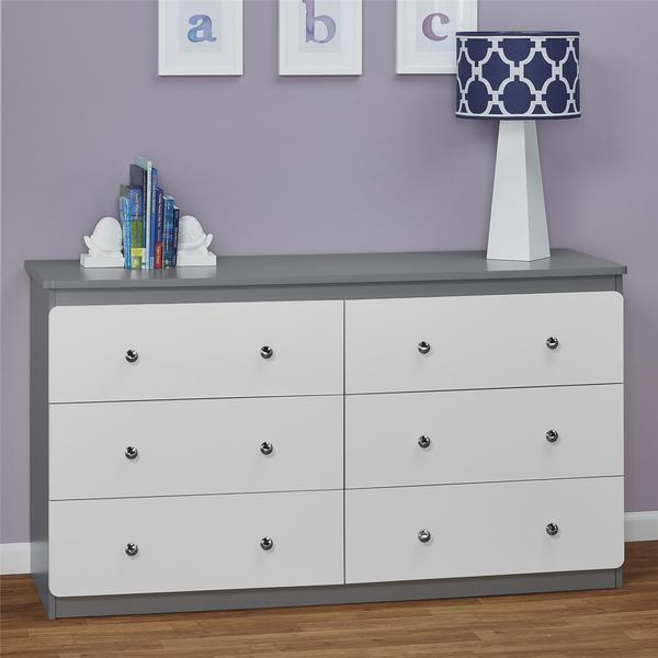 Cosco Ameriwood Home Willow Lake Grey White 6 Drawer Dresser